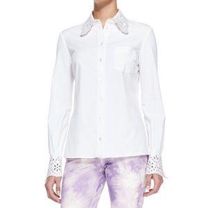 NEW! M.K. Crystal Embellished Eyelet Shirt